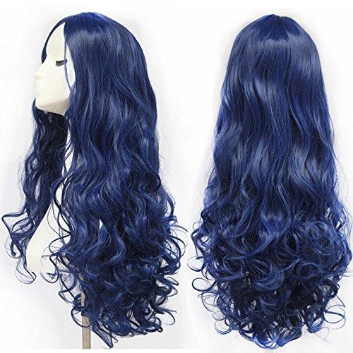 28 INCH (70cm) Party Culy Cheveux longs Perruques Bleu foncé cosplay perruque de haute qualité Perruques pour femmes
