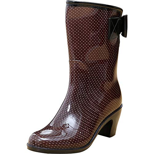 Wealsex Women Ladies Patterned Bowknot Waterproof Antislip Wellington Boots Wellies Girls Rain Boots Size 3.5-6