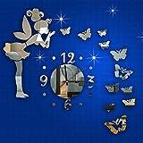 YOSICIK Pegatina De Pared Espejo Pegatinas De Pared Mariposa Hada Reloj Bricolaje AutoadhesivoDecoración del Hogar Sala De Estar 3D Pegatinas De Pared 2019