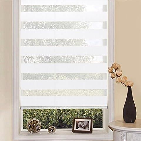 Shiny Home® Doppia avvolgibile, a strisce con paranco a catena Duo tenda finestra Tende plissettate, 100% Poliestere, 80x150cm - Bianca - Pannello Di Vetro Del Pannello Della Finestra