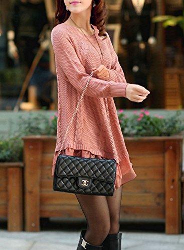 Azbro Women's Stylish Round Neck Asymmetric Loose Fit Knit Sweater pink