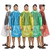 Regenponcho, Kany Notfall Einweg Regen Poncho (5 Pack) sortiert Unisex-Erwachsene Notfall wiederverwendbar Regen Wasserdicht Poncho mit Kapuze - Perfekt für Festivals, Camping and Design Parks