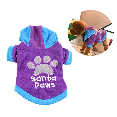 DLDL Hoodie Pet Clothes Jumpsuit Footprints und Angel Patterns Pet Kostüm Wintercoat Warm Soft Jacket für kleine Hundekater, Purple,Purple,XL