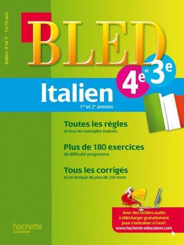 Cahier Bled - Italien 4e/3e - 13-15 ans by Gabrielle Kerleroux (2012-01-11)