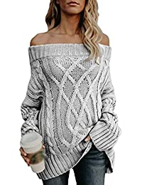 c94ebb0403f1 TianBin Damen Einfabrig Pullover Herbst Winter Warm Langarm Casual Outwear  Strickpullover Off-Shoulder Jumper Strick