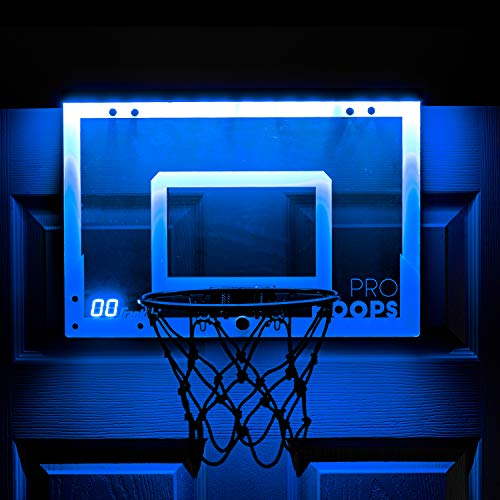 Franklin Sports Over The Door Mini LED Scoring Basketball Hoop - Slam Dunk Approved - Shatter Resistant - Accessories Included -
