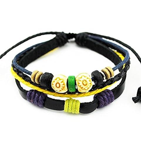 Mehr Spaß doppelt Holz Perlen Multi Farbe Strand Armreif aus Leder Einzigartige Verstellbare Länge Wickelarmband