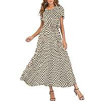 Fankle Women's Maxi Dresses Muslim Kaftan Fashion Polka Dots Print O-Neck Short Sleeve Bandage Long Dress A-Line High Waist Sundress(Khaki,L)