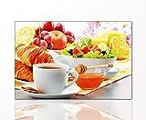 BERGER DESIGNS - Küchenbild 'Breakfast' 40 x 60cm auf Leinwand und Holzkeilrahmen (Küche, Frühstück, Tasse Kaffee, Obst, Früchte, Vitamine, Ernährung) - Beste Qualität, handgefertigt in Deutschland - Ganz einfach auspacken, aufhängen und freuen.
