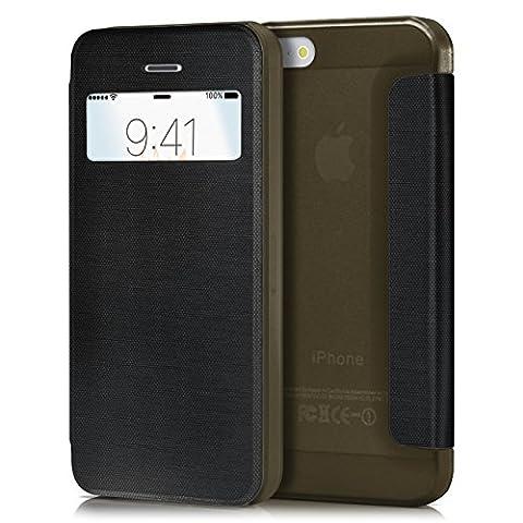 iPhone 5S Hülle Schwarz mit Sicht-Fenster [OneFlow Focus Cover] Ultra-Slim Schutzhülle Dünn Handyhülle für iPhone 5/5S/SE Case Flip Handy-Tasche Klapp-Hülle