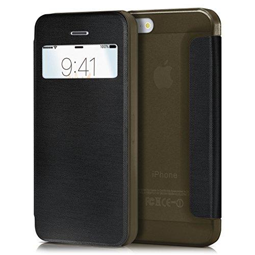 iPhone 5S Hülle Gold mit Sicht-Fenster [OneFlow Focus Cover] Ultra-Slim Schutzhülle Dünn Handyhülle für iPhone 5/5S/SE Case Flip Handy-Tasche Klapp-Hülle ZEN