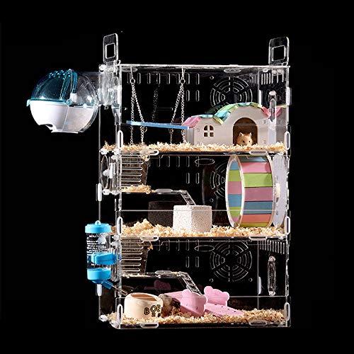 Hianiquaime 1 Satz Luxus Acryl Hamsterkäfig mit Kostenlos Großen Geschenken Mäusekäfig Kleintierkäfig Nagerkäfig Mäuse und Hamster Schloss Käfig Kleine Größe 3 Ebenen