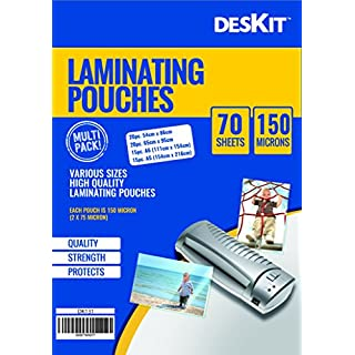 Multi Sized Laminating Pouches – 70 Pouches –- 150 Microns