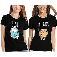 Best Friends T shirt Pour 2 fille impression des Lait et Cookies intéressant femmes à manches courtes par JWBBU®