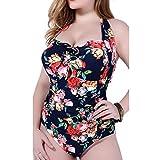 GWELL Vintage Blumen Frauen Übergröße Halter Einteiler Push Up Badeanzug Bademode blau 5XL