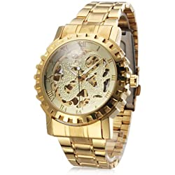 RayShop - Men's Auto-Mechanical Hollow Dragon Dial Gold Alloy Band Wrist Watch