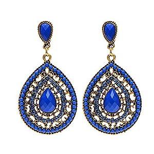 1 Paar Frauen-Tropfen-Ohrring -Weinlese -Wasser-Tropfen-gekompatibel mitmte Lange böhmischen Stil EaringsKönigs blau