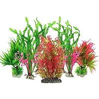Plante Aquarium Artificiel, PietyPet 7 Pièces Gros Taille Aquarium Decoration Cachette Plastique en Plastique Décoration, Plastique pour Décoration d'aquarium, Rouge et Vert