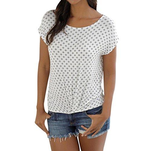 SEWORLD T-Shirt Damen Sommer Mode Lose Kurzarm Gedruckt Casual T-Shirt Bluse Tops (XL, Weiß)