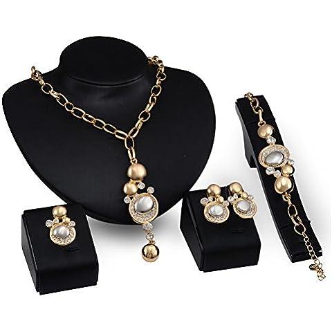 Cexin–Confezione di 4Dichiarazione Collana Orecchini Braccialetto Anello a fascia matrimonio accessori gioielli - Strass Strand Orecchini