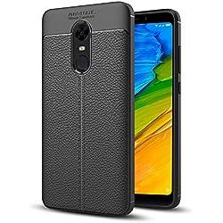 Hupshy Redmi Note 5 Plus Cover/Redmi Note 5 Plus Soft Silicone TPU Flexible Leather Taxture Back Cover/Redmi Note 5 Plus Back Case (Black) (AF01)