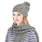 Vbiger Ensemble bonnet et écharpe en tricot d'hiver pour hommes et femmes, gris, 2 pièces (Gris)