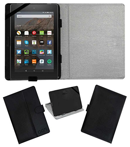ACM Leather Flip Flap Case with Cover Stand for Amazon Fire Hd 8 Tablet (Black)