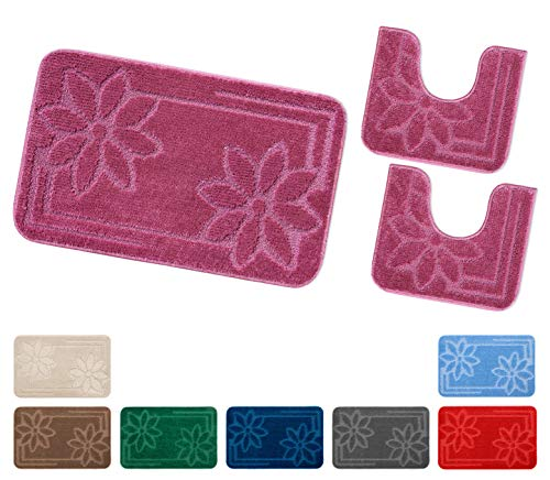 Emmevi tappeto bagno set 3 pezzi fiori girowater parure moderna assorbente retro antiscivolo mod.moorea 6 set 3 pezzi marrone