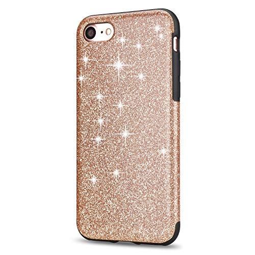 iPhone 7 Hülle, TENDLIN Luxury Hybrid Glitzer Bling Kristall [Exakt-Anpassen] Weiches TPU Glänzend Glitzer Schönheit Hülle für iPhone 7 (Rosa) Gold