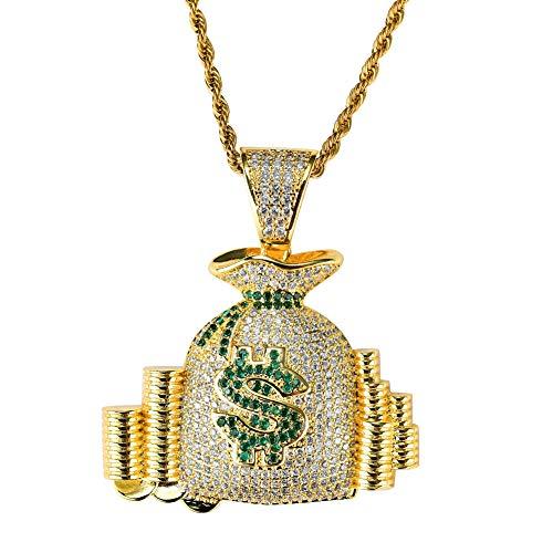 ar Symbol Geld Tasche Anhänger, Kupfer eingelegten Zirkon Hip Hop Flut Halskette Schmuck, Modeschmuck Geschenk, Männer und Frauen Stil, Gold ()