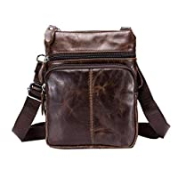 Globeagle BULLCAPTAIN Business Men Leather Small Satchel Shoulder Bag Sling Crossbody Messenger Bags(Dark Brown)