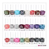 24 x GLITTER NAIL POLISH VARNISH SET 20 DIFFERENT SHADES 7 ML WHOLESALE