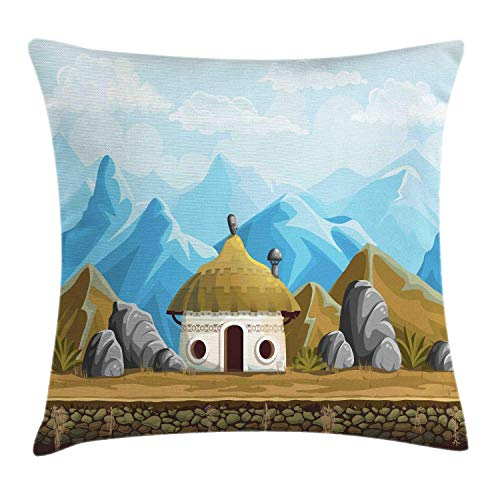 Landscape Throw Pillow Cushion Cover, Hut in The Mountains Asian Steppe Architecture with Cartoon Pattern, Decorative Square Accent Pillow Case, Brown Pale Blue White,24 X 24 Inches Print Woven-hut