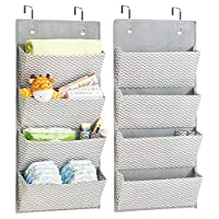 Nappies Towels mDesign Over-Door Fabric Baby Nursery Wardrobe Organiser for Stuffed Animals 4 Pockets Moist Toilet Tissue Taupe//Natural