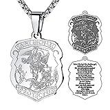 FaithHeart Platinum-Plated Herren Halskette Heilige Bibel Anhänger Kette Saint Michael religiöse Zubehör Zubehör von Abendkleid Silber Länge: 50cm (+ 5cm)