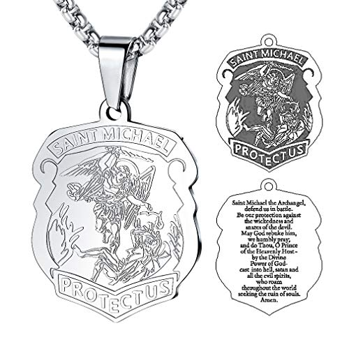 FaithHeart Platinum-Plated Herren Halskette Heilige Bibel Anhänger Kette Saint Michael religiöse...