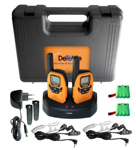 funkgeraete mit headset DeTeWe Outdoor PMR 8000 Funkgerät 2er Set mit einer Reichweite von bis zu 9 km -tropfwasserdicht (geprüft nach IPX2 Standard)