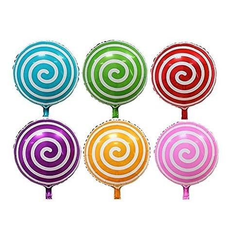 NUOLUX 6pcs 18 pouces Sweet Candy Balloons Round Lollipop Balloon Anniversaire de Mariage Décoration