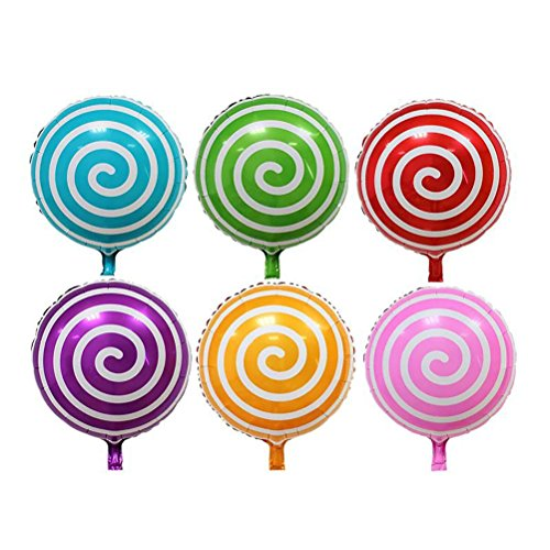 TOYMYTOY Luftballons Aluminium 18 Zoll Süßigkeit Lutscher Folie Balloons für Party Kinder Geburtstag Dekoration Hochzeit 6 Stück