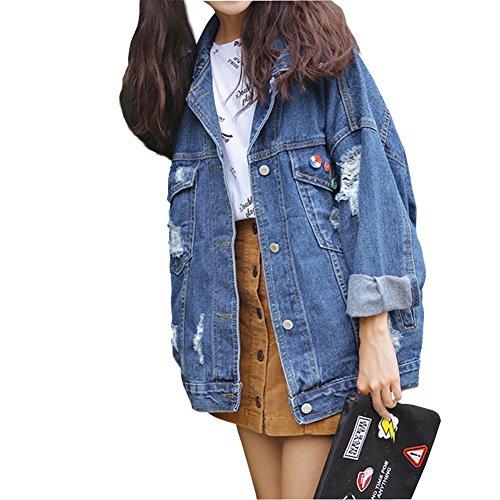 CYSTYLE Frauen Basic BF Löcher Mäntel Herbst und Winter Damen Jeansjacke Vintage Langhülse Lose Mädchen Jeans Mantel Beiläufige Outwear (EU XS=Asia S)