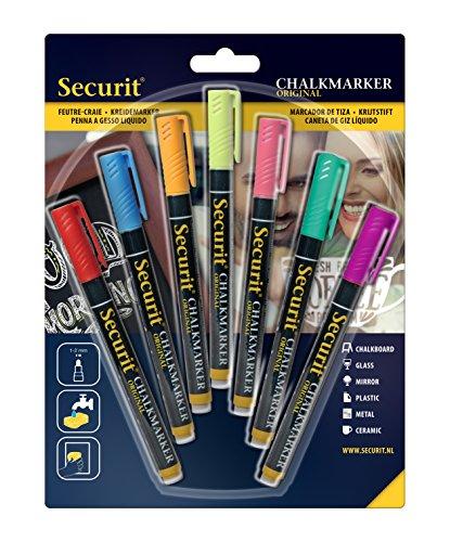 Securit Kreidemarker, 1-2 mm, mehrfarbig, blau, orange, violett, pink, rot, grün, gelb