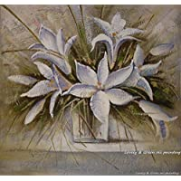 ZXCVB Ölgemälde Handpainted White Flowers Simple Oil Paintings On Canvas Modern Wall Art Pictures For Living Room Home Decoration,60X60Cm