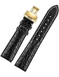 20 mm crocodile noir affaires haut de gamme classique bracelet de bracelet pour les hommes alligator crocodile boucle déployante en or grain