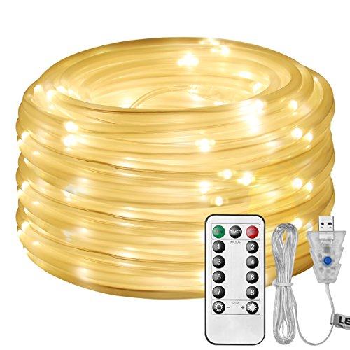 LE Cadena de luces de cuerda USB Exteriores, 10m 100 LED 8 modos Temporizador, Resistente al agua, Manguera de luces LED