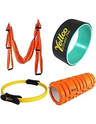 Set Yoga Swing + Pilates Ring + Rouleau Massage + Yoga Wheel Fitness Gym