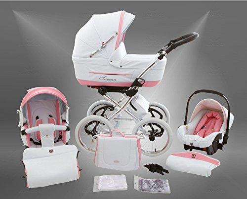 *True Love Classic One Plus Kinderwagen Eco Leder (Autositz & Adapter, Regenschutz, Moskitonetz, Speichenluftreifen) 04 Eco White Rosa*