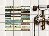 creatisto Küche Bad Fliesentattoo | Fliesen Dekorfolie Küchen-Fliesen Kühlschranksticker Wandtattoo | 10x10 cm Design Motiv Schiffsbruch - 9 Stück