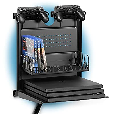 GameSide Bundle Big Daddy horizontal wall mount by Borangame® | Multicolor led light | Metal floating shelf | For Playstation® 3/4, Slim and Pro, Xbox® One/ 360 | Black - low-cost UK light shop.
