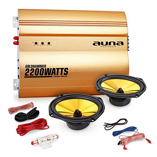 Elektronic-Star Auna 2.0 Golden Race V3 Car HiFi Set 2-Channel High Performance Pair (6 x 9`` Speakers amp; Amplifier, 2200W, Sound Control on the Front)