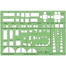 Linex universelle Architekten-Schablone mit Möbel-Symbolen und elektrischen Symbolen grün getönt